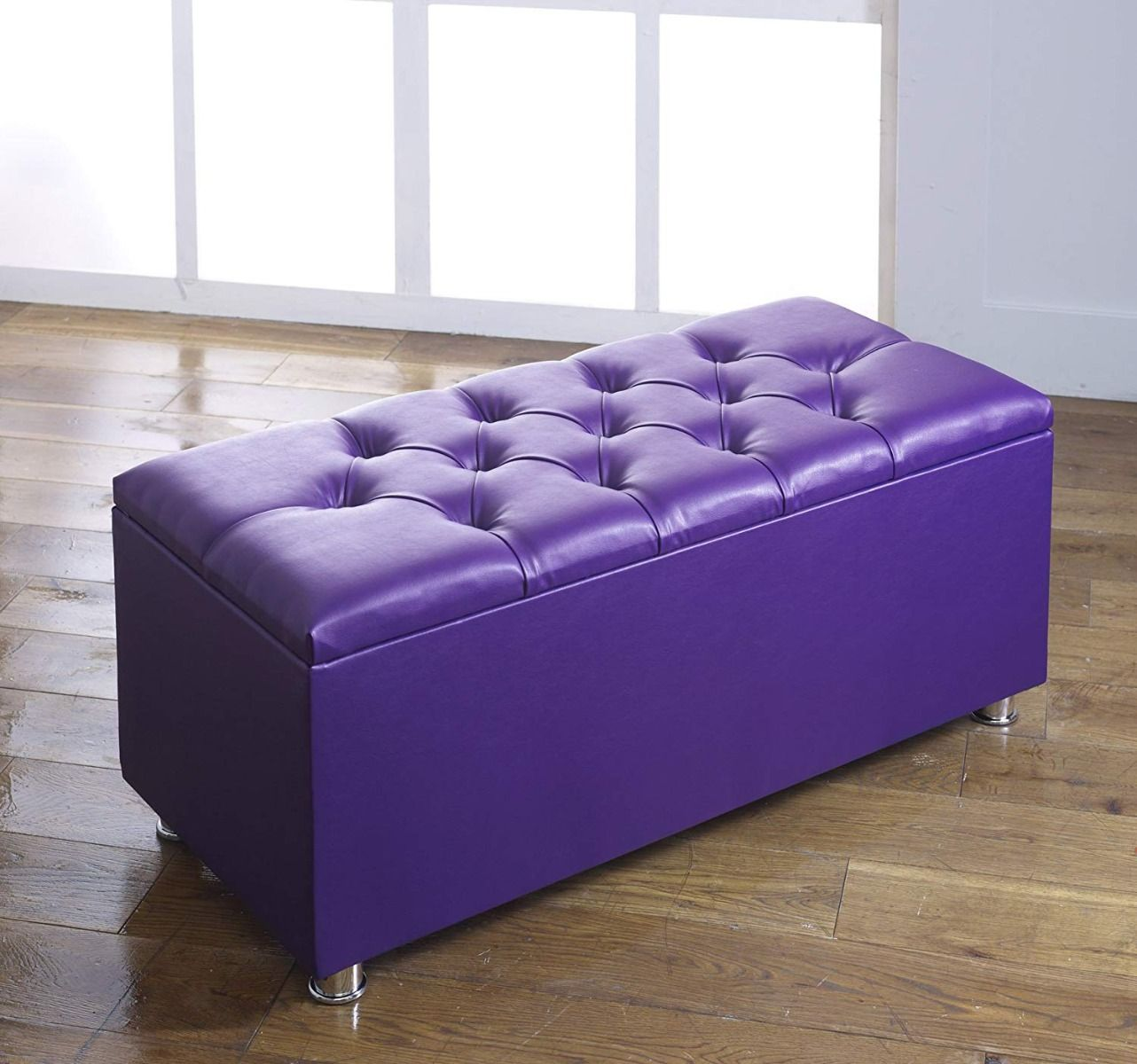 Phenomenal Crown Faux Leather Diamante Ottoman Toy Storage Blanket Box Purple Ocoug Best Dining Table And Chair Ideas Images Ocougorg