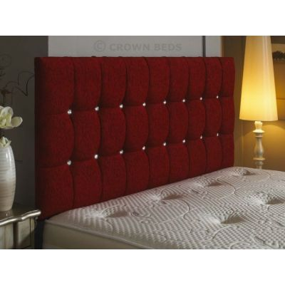 OMEGA DIAMANTE CHENILLE HEADBOARD 4FT6 DOUBLE RED CHERRY 26 INCHES