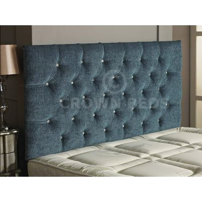 Chesterfield Chenille DIamante Headboard 26'' Height All Sizes & Colours-AQUA-4FT6 DOUBLE