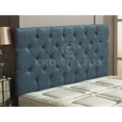 Chesterfield Chenille Plain Button Headboard 26'' Height All Sizes & Colours-AQUA-4FT6 DOUBLE