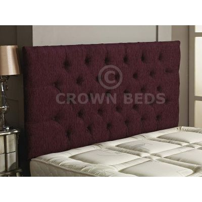 Chesterfield Chenille Plain Button Headboard 26'' Height All Sizes & Colours-AUBERGINE-4FT6 DOUBLE