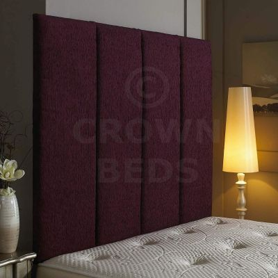 Alton Wall Headboard Chenille 36'' Height Various Colours All Sizes-AUBERGINE-4FT6 DOUBLE