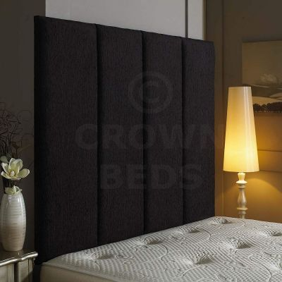 Alton Wall Headboard Chenille 36'' Height Various Colours All Sizes-BLACK-4FT6 DOUBLE