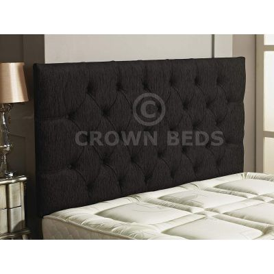 Chesterfield Chenille Plain Button Headboard 26'' Height All Sizes & Colours-BLACK-4FT6 DOUBLE