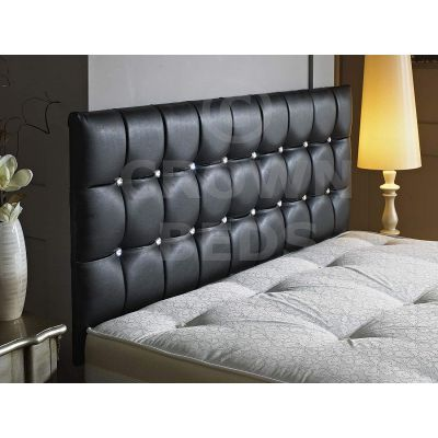 CUBED FAUX LEATHER DIAMANTE HEADBOARD-BLACK-26 INCHES-2FT6 SMALL SINGLE