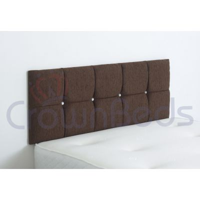 CLUJ CHENILLE HEADBOARD 4FT6 DOUBLE BROWN 20'' PLAIN BUTTONS