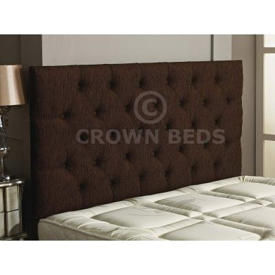 Chesterfield Chenille Plain Button Headboard 26'' Height All Sizes & Colours-BROWN-4FT6 DOUBLE