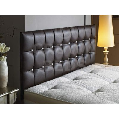 CUBED FAUX LEATHER DIAMANTE HEADBOARD-BROWN-20 INCHES-4FT6 DOUBLE