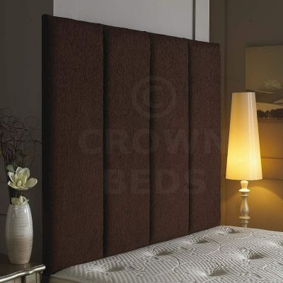 Alton Wall Headboard Chenille 36'' Height Various Colours All Sizes-BROWN-4FT6 DOUBLE