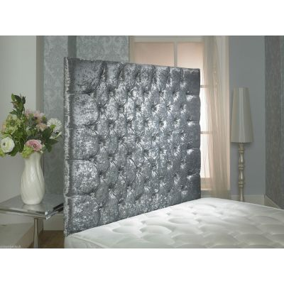 CHESTERFIELD CRUSHED VELVET DIAMANTE WALL HEADBOARD 4FT6 SILVER 36'' HEIGHT