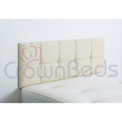 CLUJ CHENILLE HEADBOARD 4FT6 DOUBLE CREAM 20'' PLAIN BUTTONS