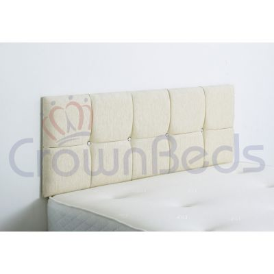 CLUJ CHENILLE HEADBOARD 6FT SUPER KINGSIZE CREAM 20'' PLAIN BUTTONS