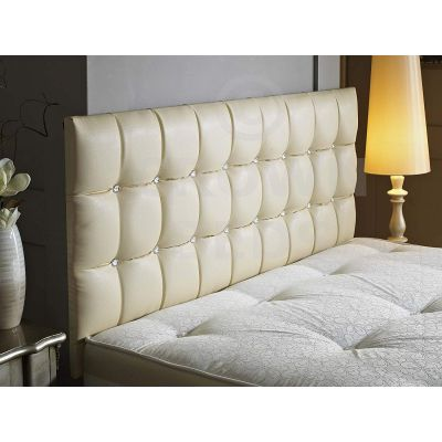 CUBED FAUX LEATHER DIAMANTE HEADBOARD-CREAM-26 INCHES-4FT6 DOUBLE