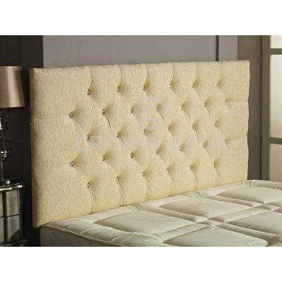 Chesterfield Chenille DIamante Headboard 26'' Height All Sizes & Colours-CREAM-4FT6 DOUBLE