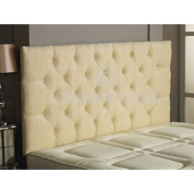 Chesterfield Chenille Plain Button Headboard 26'' Height All Sizes & Colours-CREAM-4FT6 DOUBLE
