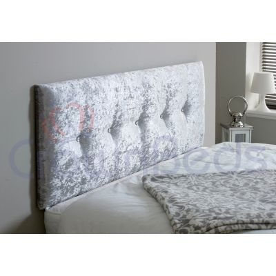 IZZABELLA CRUSHED VELVET HEADBOARD ALL SIZES, COLOURS, DIAMANTE-SILVER-4FT6 DOUBLE