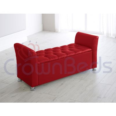 PARIS FAUX LEATHER OTTOMAN STORAGE BOX WITH RESTING ARMS DIAMANTE-RED
