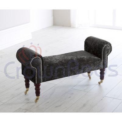 Chaise Longue / Lounge Bench Crushed Velvet Various Colours Castor Legs