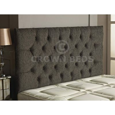 Chesterfield Chenille Plain Button Headboard 26'' Height All Sizes & Colours-GREY-4FT6 DOUBLE