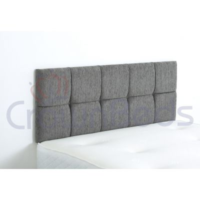 CLUJ CHENILLE HEADBOARD 4FT6 DOUBLE GREY 20'' PLAIN BUTTONS