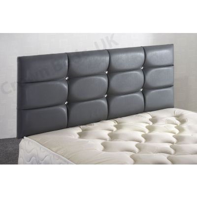 DELUXE FAUX LEATHER HEADBOARD 2FT6 SMALL SINGLE GREY