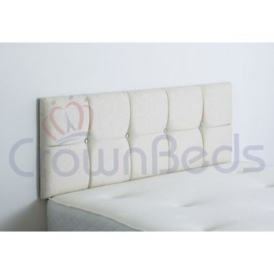 CLUJ CHENILLE HEADBOARD 4FT SMALL DOUBLE IVORY 20'' PLAIN BUTTONS