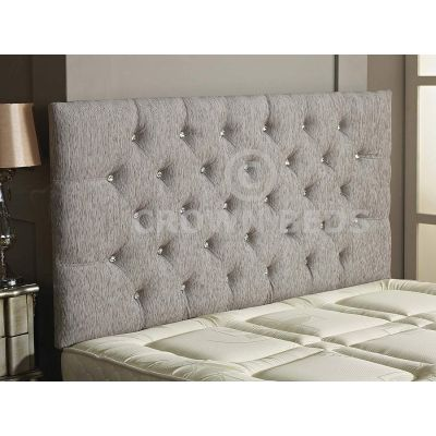 Chesterfield Chenille DIamante Headboard 26'' Height All Sizes & Colours-LIGHT GREY-4FT6 DOUBLE