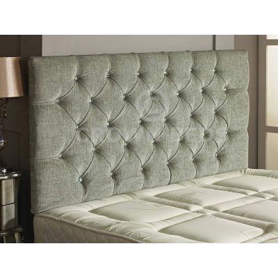 Chesterfield Chenille DIamante Headboard 26'' Height All Sizes & Colours-MEADOW-4FT6 DOUBLE
