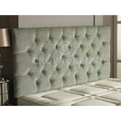 Chesterfield Chenille Plain Button Headboard 26'' Height All Sizes & Colours-MEADOW-4FT6 DOUBLE