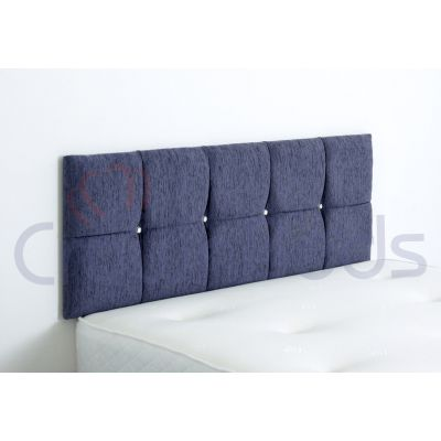 CLUJ CHENILLE HEADBOARD 4FT SMALL DOUBLE PURPLE 20'' PLAIN BUTTONS