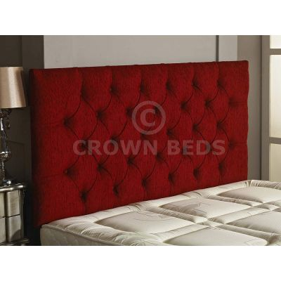Chesterfield Chenille Plain Button Headboard 26'' Height All Sizes & Colours-RED-4FT6 DOUBLE