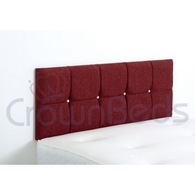 CLUJ CHENILLE HEADBOARD 4FT SMALL DOUBLE RED 20'' PLAIN BUTTONS