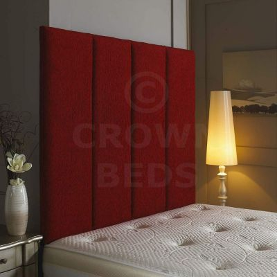 Alton Wall Headboard Chenille 36'' Height Various Colours All Sizes-RED-4FT6 DOUBLE