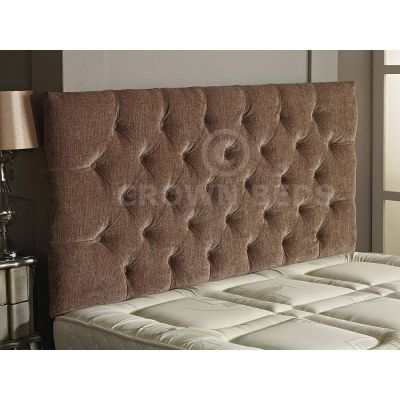 Chesterfield Chenille Plain Button Headboard 26'' Height All Sizes & Colours-SAND-4FT6 DOUBLE
