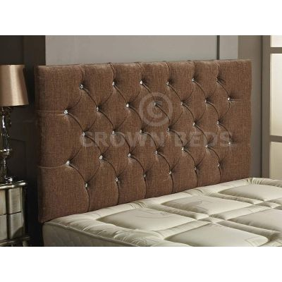 Chesterfield Chenille DIamante Headboard 26'' Height All Sizes & Colours-SAND-4FT6 DOUBLE