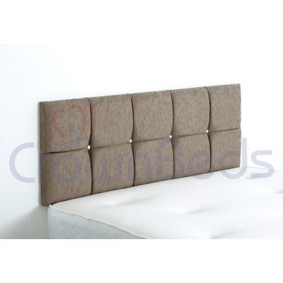 CLUJ CHENILLE HEADBOARD 6FT SUPER KINGSIZE SAND 20'' PLAIN BUTTONS