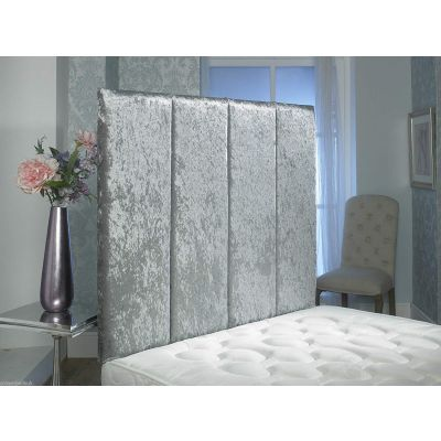 Alton Crushed Velvet Wall Headboard 36'' Height-SILVER-5FT KINGSIZE