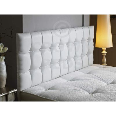 CUBED FAUX LEATHER DIAMANTE HEADBOARD-WHITE-20 INCHES-2FT6 SMALL SINGLE